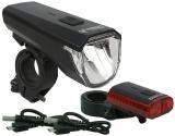 BDCP LED Akkuleuchtenset Blacktown USB 50/30/15 Lux mit dt. Prüfzeichen schwarz